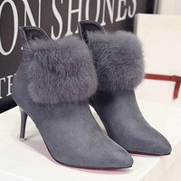 New Red Bottom High Heels Ankle Boots For Women
