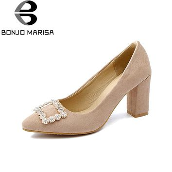 BONJOMARISA Women's Metal Chunky High Heels Party Wedding Office Shoes Woman Pointed Toe Less Platform Pumps Big Size 31-48