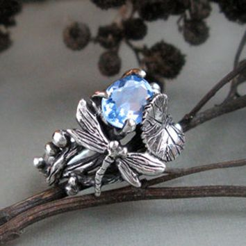 Womens .925 Sterling Silver Ring 2.25CT Aquamarine Oval Cut Dragonfly Ring