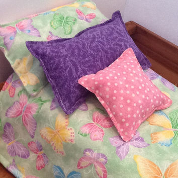 "Pink and geen doll bedding for 18"" dolls, comforter, three pillows, pastel butterflies, cotton fabric,  pink polka dot and purple leaf print"