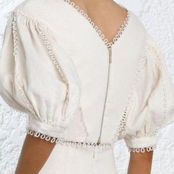 DCCKON3 wishbop  short cream painted heart tear bodice tops v neck lace edge elbow length puff sleeves circles cuffs zip back