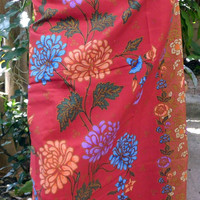 woman's sarong deep red and gold batik pattern W6