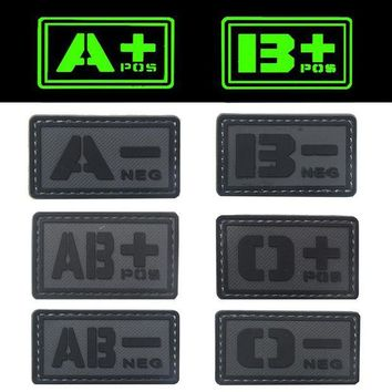 ONETOW REEBOW TACTICAL 2X GREY A B O AB POS NEG Blood Type Patches PVC Noctilucent Luminous Military Emergency First Aid Morale Patches