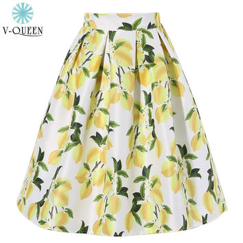 V-QUEEN 2016 New Women Fashion Elegant Midi Skirts Summer High Waist Yellow Lemon Print Novelty Pleated Skirts Female A1603018