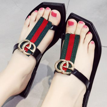 GUCCI summer flip-flops with black red green stripes and flat sandals women shoes Black