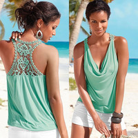 Summer Sleeveless Hollow Out Lace Casual T-shirts [8096393159]