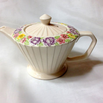 Sadler Teapot made in England - 2 cup capacity - Deco Pleated Design with Raised Painted Florals - Purple Pink Yellow Green on Creamy White