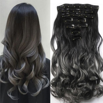 20'' Long Curly Wave Women 7pcs/set Clip in Hair Extension Highlight Synthetic Ombre Wig Gradient Color Hairpiece [8833977804]