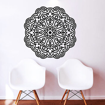 Mandala Wall Decal Namaste Flower Mandala Indian Lotus Yoga Wall Decals Vinyl Sticker Interior Home Decor Art Wall Decor Bedroom SV6026