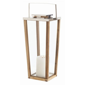 Arteriors Home Zeke Large Glass/Wood/Steel Lantern
