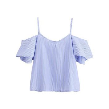 Cold Shoulder Blouse Women Blue Pinstripe Cute Ruffle Slip Summer Tops Fashion New Sexy Cut Out V Neck Blouse