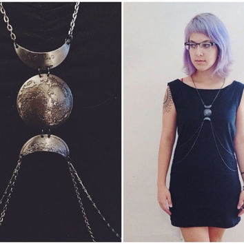 Triple Goddess Body Chain // etched and hand hammered low dome lunar pendant // gunmetal // the Satellite Collection from Mod Evil