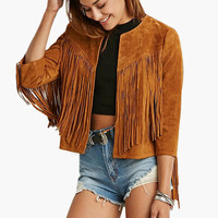 Short Faux Suede Fringe Jacket