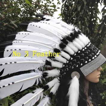Indian feather Headdress American costume indian chief feather war bonnet halloween costume