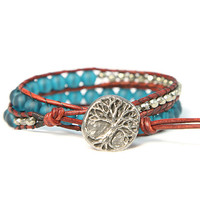Natural Pyrite and Recycled glass 2x Wrap Bracelet - Tree of Life Pewter Button