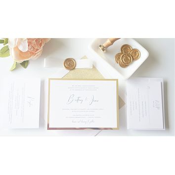 Classic Gold Vellum and Wax Seal Wedding Invitation - SAMPLE SET