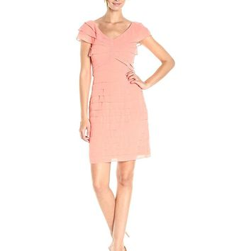 Adrianna Papell - AP1D100977 Pleated V-neck Chiffon Sheath Dress