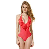 Bandeau Top with Fringe  swimsuit Backless Swimwear Bathing suit Beachwear