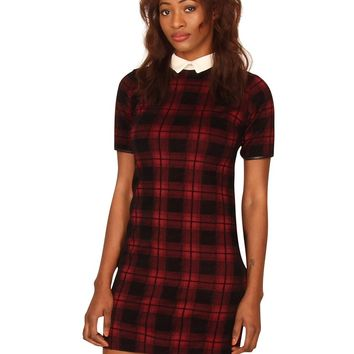 Short Sleeved Checked Peter Pan Collar Velvet Dress in Maroon