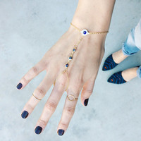 Spring Fashion Turkish Evil Eye Ring Bracelet / Finger Bracelet