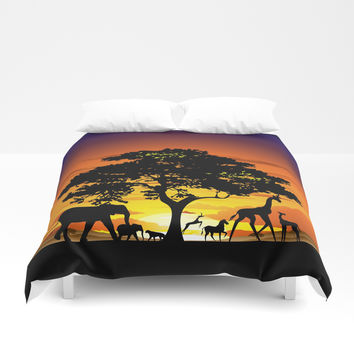 Wild Animals on African Savanna Sunset Duvet Cover by bluedarkatlem