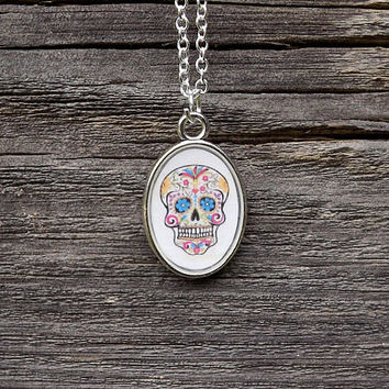 Sugar Skull Necklace - Skull Pendant Necklace - Day of The Dead Necklace - Halloween Jewelry