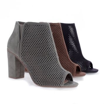 Fabio Taupe By Delicious, Peep Toe Laser Perforated Chunky Heel Sandals