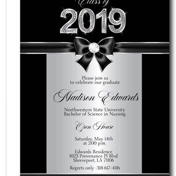 Class of Silver Bling Graduation Party Invitations