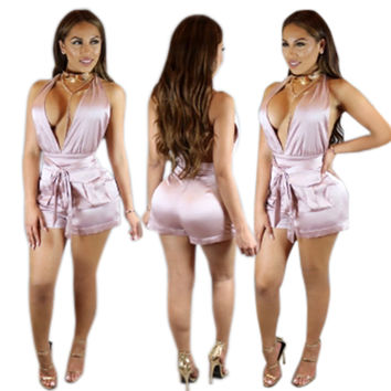 Sleeveless Deep V-Neck Tie-Waist Romper