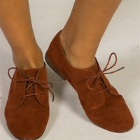 Suede Lace Up Oxford Brogues - Rust from Oppo at Lucky 21 Lucky 21