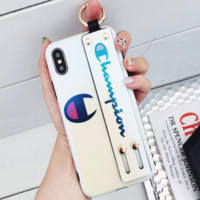 Champion Tide brand couple wristband iPhone7p mobile phone case soft shell cover white