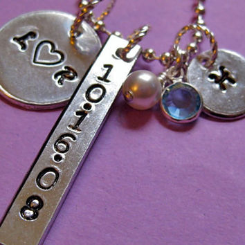 Wedding or Anniversary Couple's Hand-stamped Love Necklace - Personalized Custom Necklace