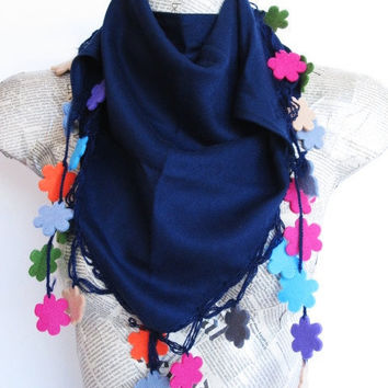 Navy Blue PASHMINA SCARF With Floral Lace, New Trends, For Women