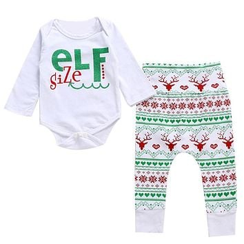 Christmas Baby Clothing Set Infant Girls Boys Long Sleeve Xmas Nightwear Sleepwear Costume Toddler Kids Clothes