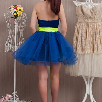 Cobalt Blue Tulle Dress / Bridesmaid Tutu Skirt Dress / Formal Evening Dress / Blue Satin Prom Dress / Elegant Knee Length Wedding Dress /