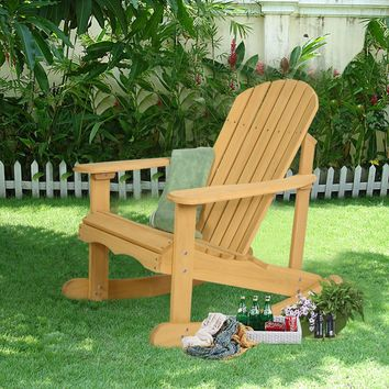 Outdoor Natural Fir Wood Adirondack Rocking Chair Patio Deck Garden Furniture