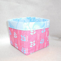 Pretty Blue and Pink Fabric Basket