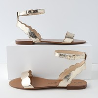 Odette Crackled Gold Ankle Strap Sandals