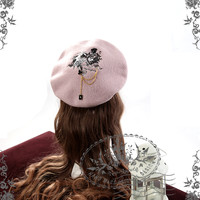 The Queen's Throne, Alice Lolita Large Embroidery Wool Beret & Brooch*6colors