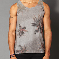 Heathered Palm Tree Tank Grey/Coral Small