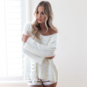 Long Sleeve Knit Tops Sexy Hollow Out Hot Sale Sweater [31301140506]