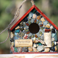 Recycled Outdoor Mosaic Birdhouse with Wine Corks