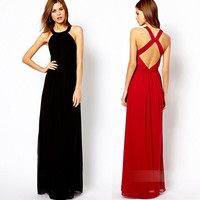 Dramatic Lady Sleeveless Backless Prom Evening Club Long Boho Party Dress Gown
