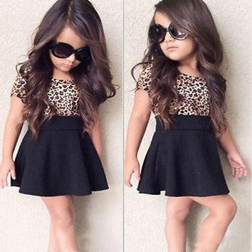 Girls Leopard Print and Black Skirt Set