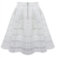 Chiffon Pleated Plaid Skirt