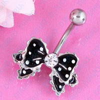 Free Shipping Bow belly button ring fashion navel bar body piercing jewelry 14G Surgical Steel nickel-free