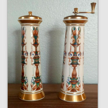 1960s Lenox Lido salt shaker and pepper mill set, 24K gold decorated, vintage serving, Lenox dinnerware