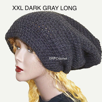 XXL Oversized Dark Gray Beanie, Extra Long, Soft and Warm, Dreadlocks, Mens, Womens, Locs, Long Hair, Slouchy Beanie, Crochet Hat