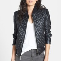 BCBGMAXAZRIA 'Morgan' Quilted Faux Leather Bomber Jacket