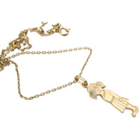 Vintage little orphan Annie necklace in 18K solid gold Stamped fine gold jewelry little girl pendant
